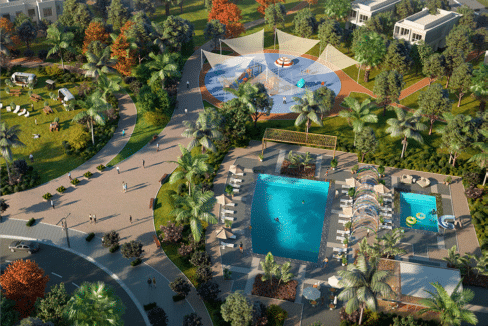 Blick auf den Community Pool Community Pool La Rosa Villanova (Dubai Properties)