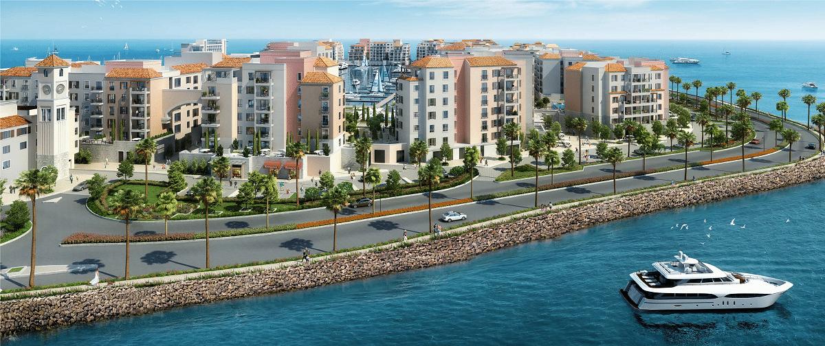 Dubai Port de la Mer Immobilien Blick vom Meer