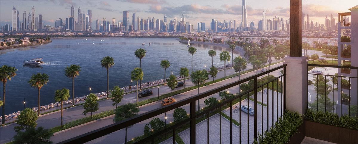 Dubai Port de la Mer Wohnung Apartment Blick Balkon auf Downtown