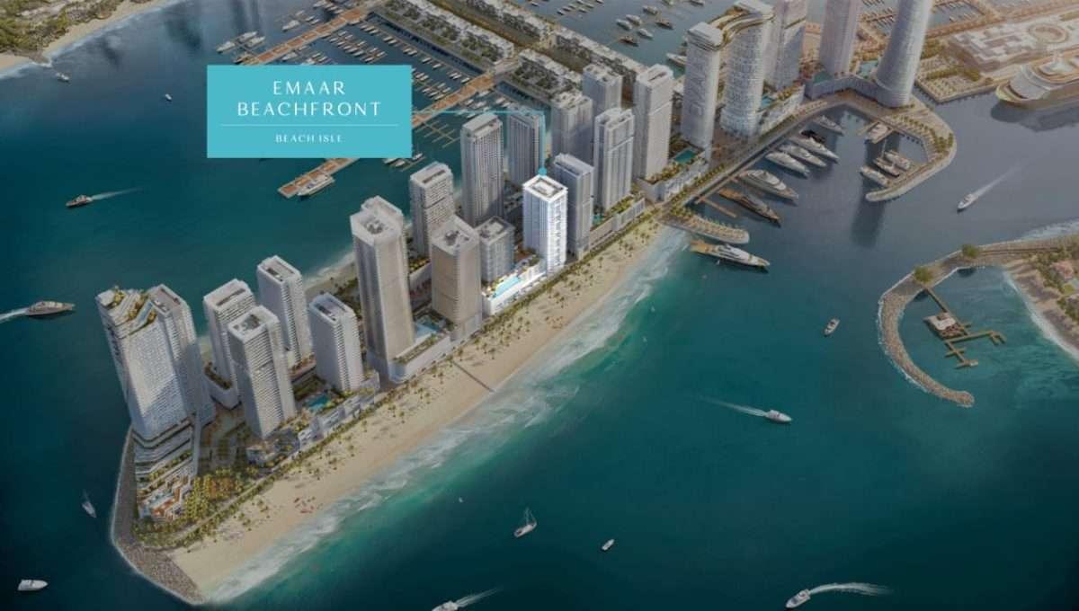 Dubai Beach Isle Emaar Waterfront Draufsicht und Lage