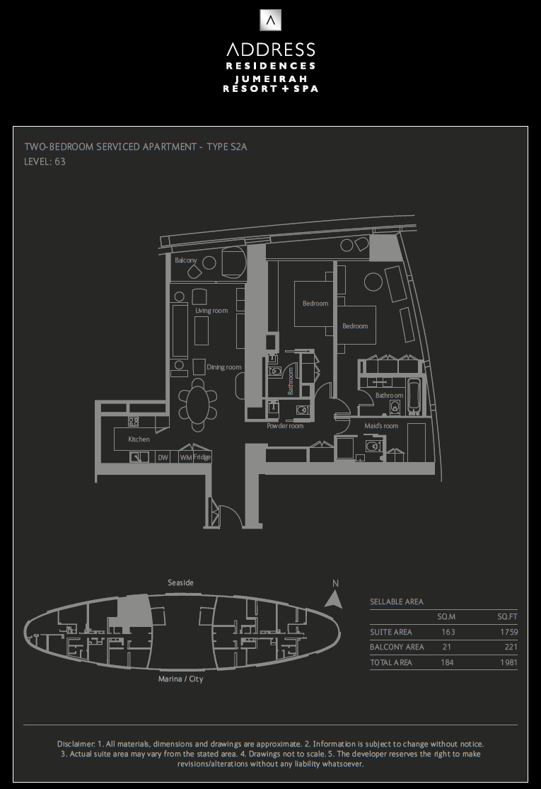 2-Bedroom + Maid`s Room Apartment Auslegung S2A