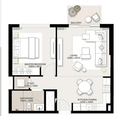 1-Bedroom Wohnung