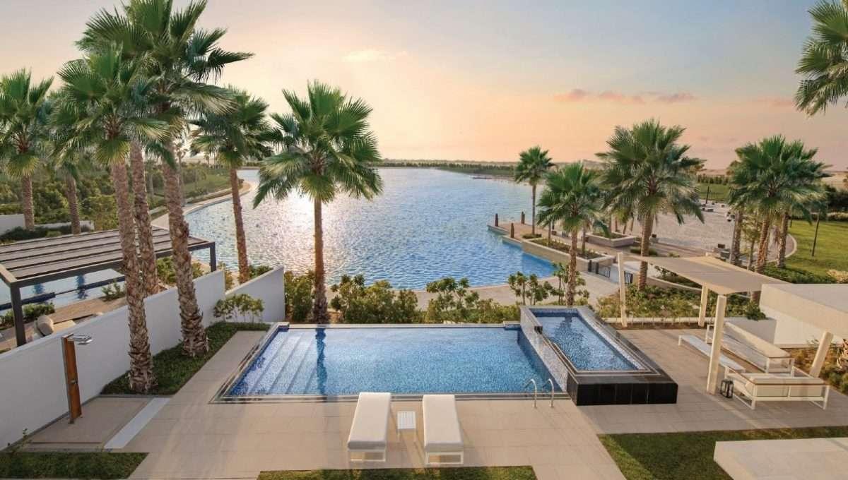 Lagune und Poolbereich Dubai Community Tilal al Ghaf