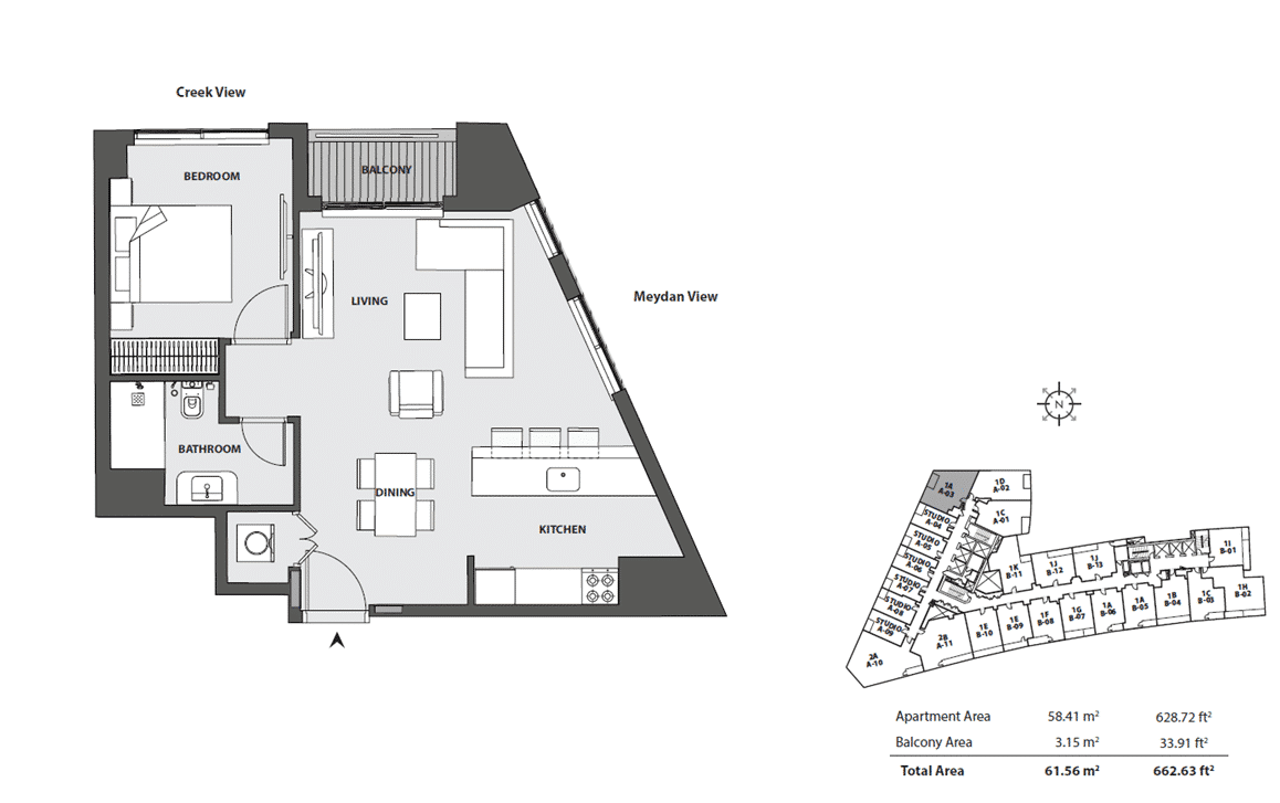 1-Bedroom Apartment Typ 1A