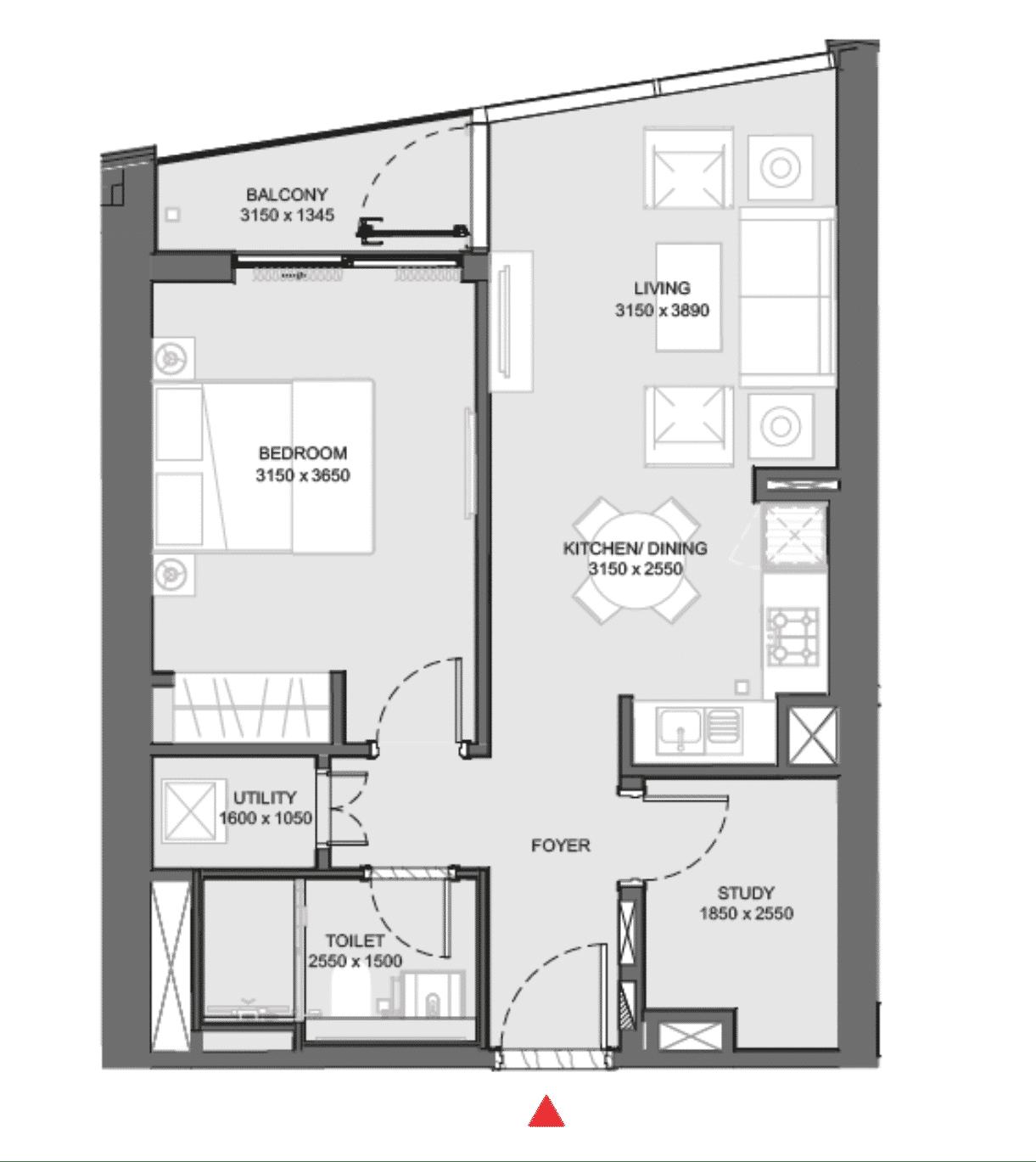 Appartement d'une chambre à coucher + study (bureau)