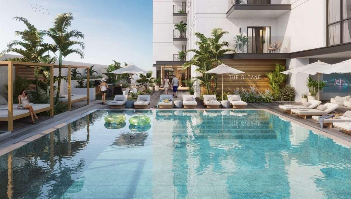 Immobilie Dubai The Sloane JVC Poolbereich