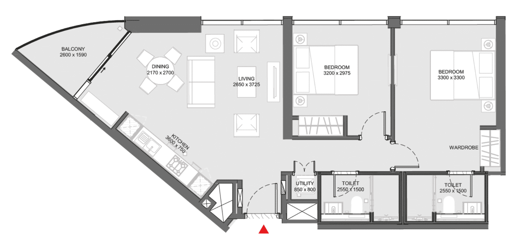 Appartement à 2 chambres (Type A2)