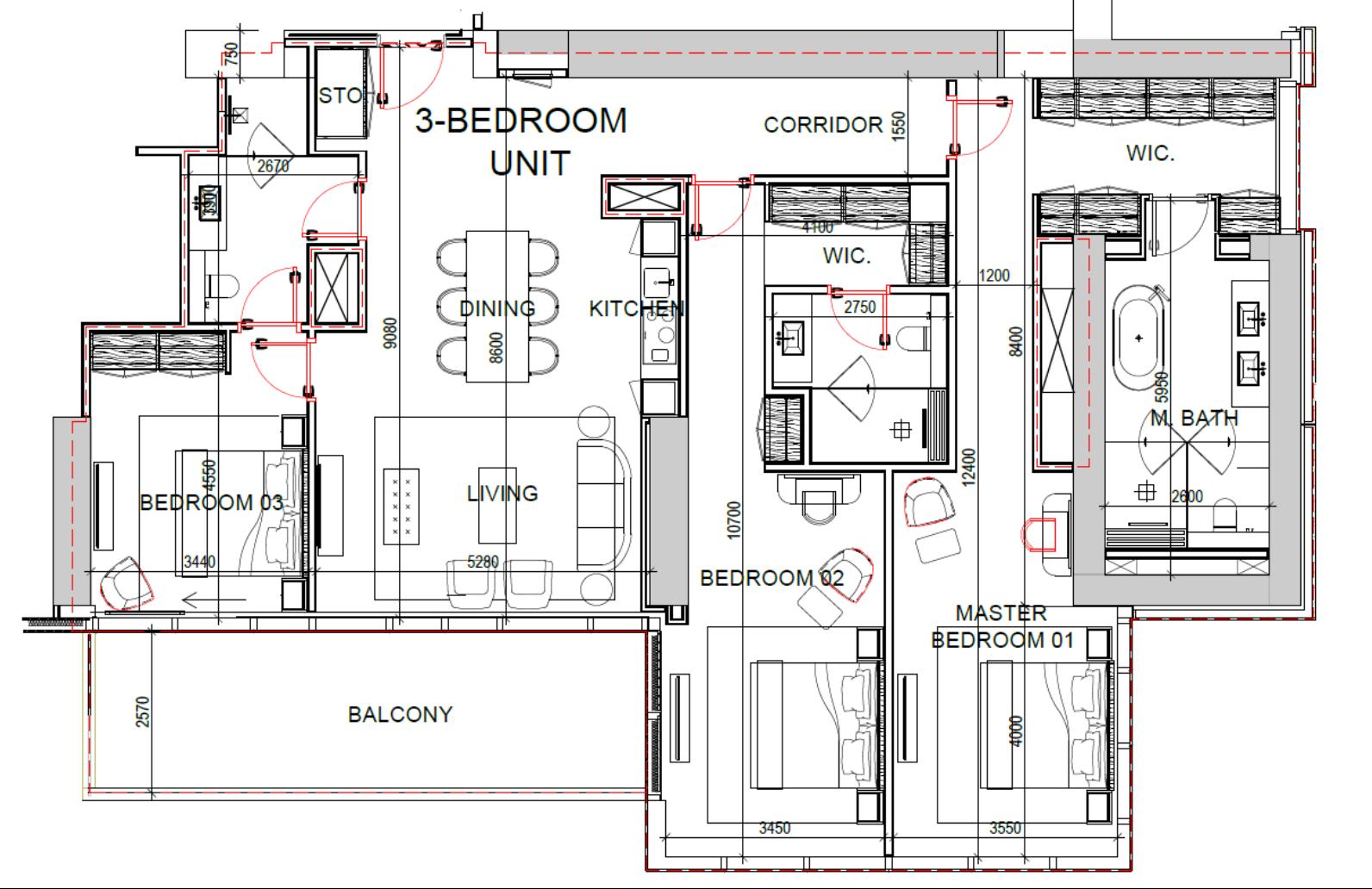 3-Bedroom Apartment (Stockwerke 12-30)