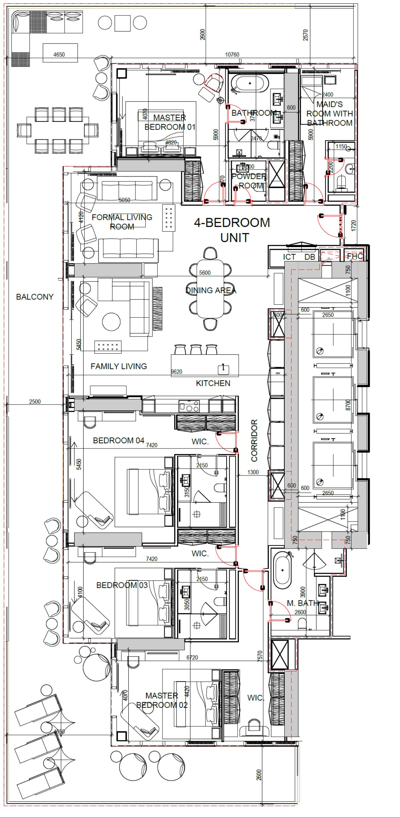 4-Bedroom Apartment (Stockwerke 12-30)